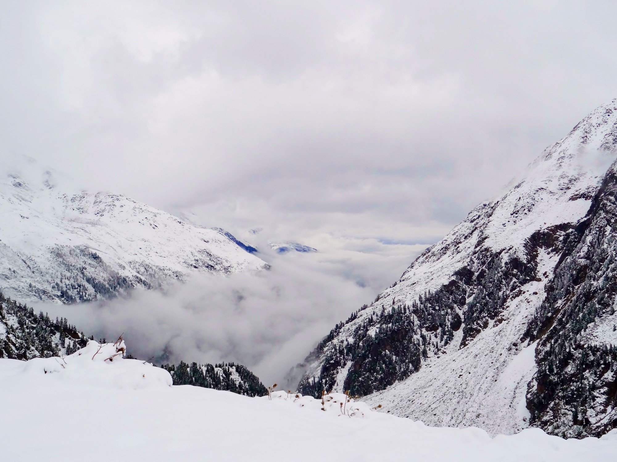 Valley in snow