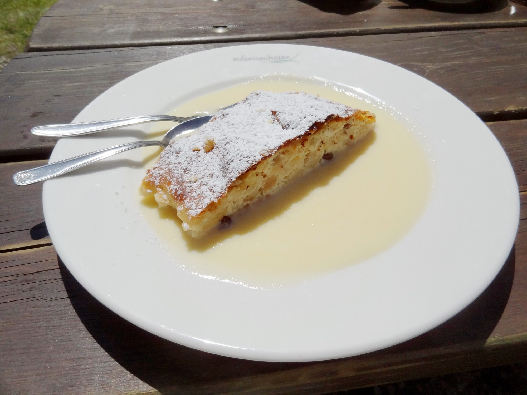 Homemade creamy cottage cheese strudel at Sulzenau hut - Stubai High Trail