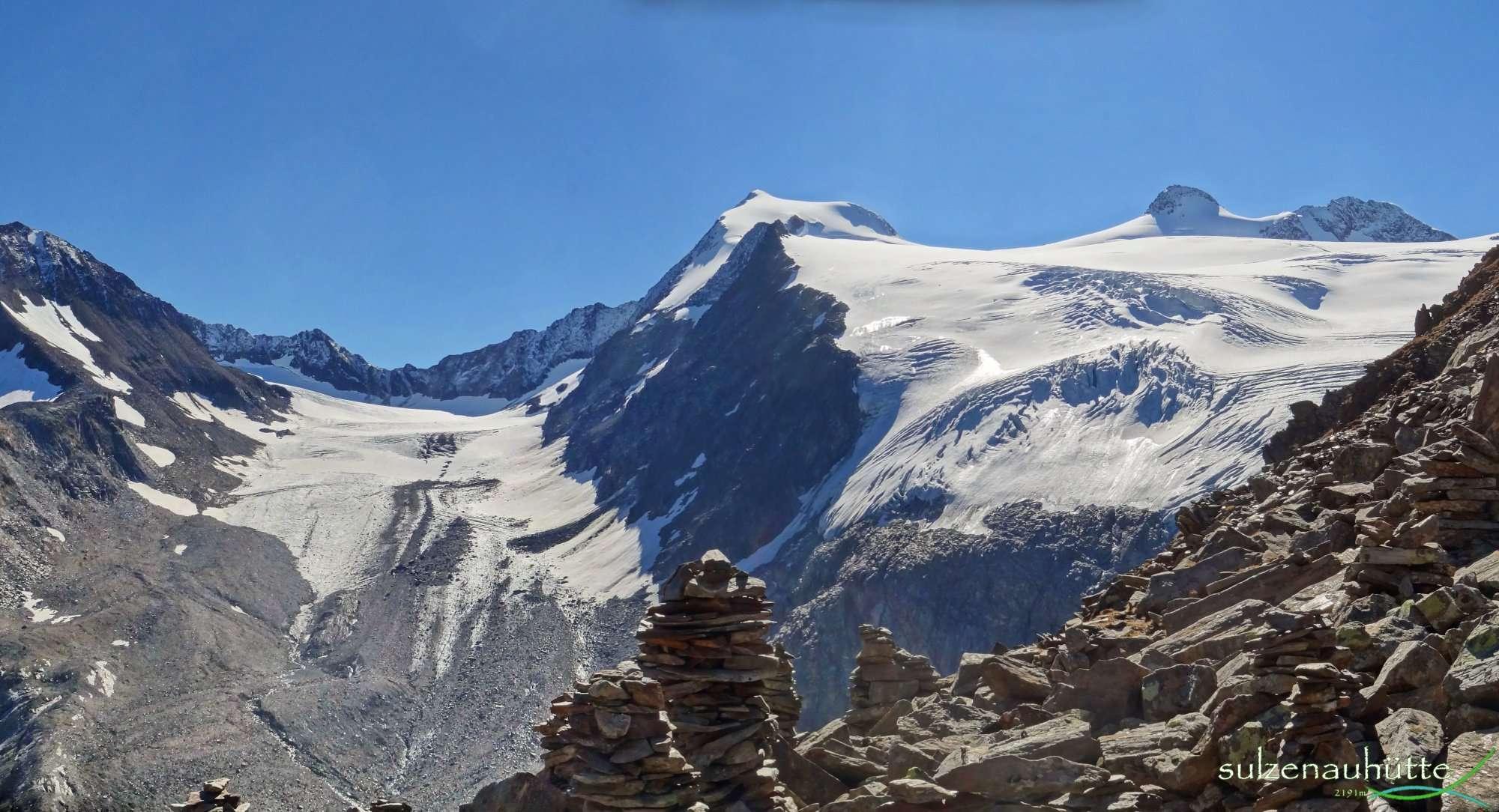 Blick vom Peiljoch in die Fernerstube, Aperer Freiger, Pfaffennieder, Wilder Pfaff, Zuckerhütl - Stubaier Höhenweg
